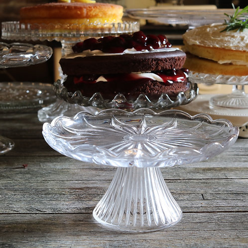 Pressed Glass Vintage Cake Stand - Small D