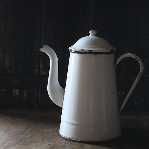 White French Vintage Enamel Coffee Pot
