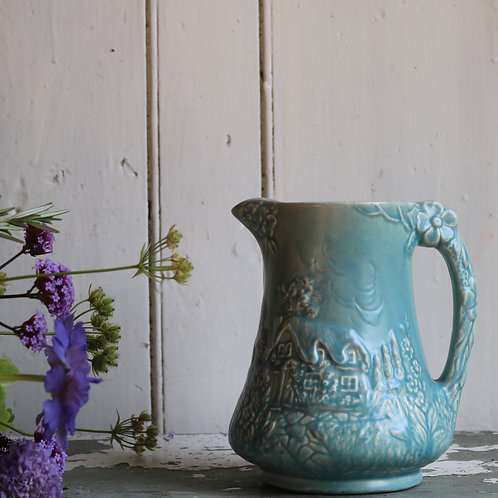 Blue Vintage Flower Jug Vase Pitcher Blue Cottage Price Bros