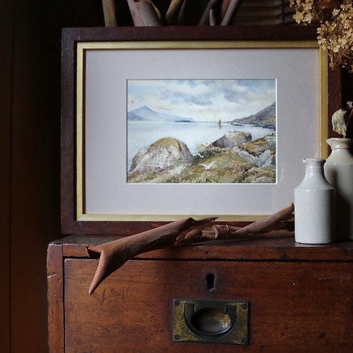 Original Art Watercolour Boat and Seagulls Kingairloch Scotland