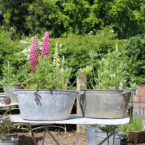 Large Galvanised Zinc Planters Baths
