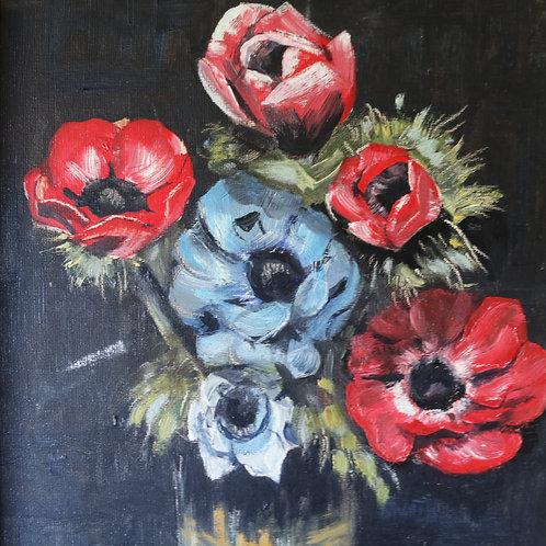 Vintage Original Oil Painting - Anemones