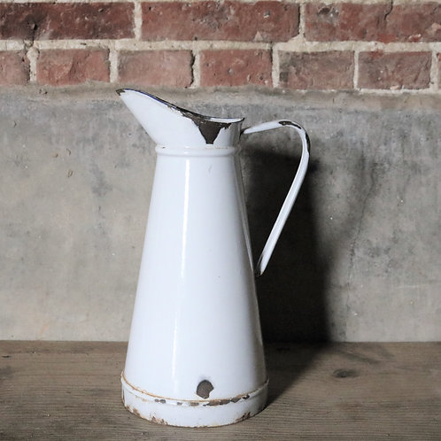 Large White French Vintage Enamelware Pitcher Jug