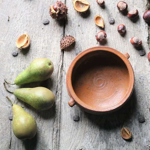 Rustic Hand-thrown French Vintage Terracotta Shallow Bowl