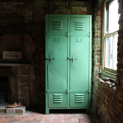 Green Industrial Metal French Vintage Lockers