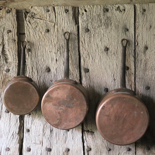 French Vintage Copper Saucepans - Set of 3