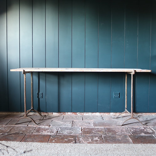 Country Rustic Antique Trestle Console Table