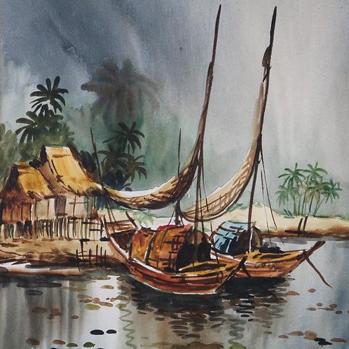 Original Watercolour Chinese Fishing Boats