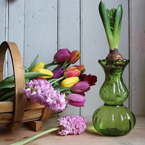 Vintage Green Glass Hyacinth Vase