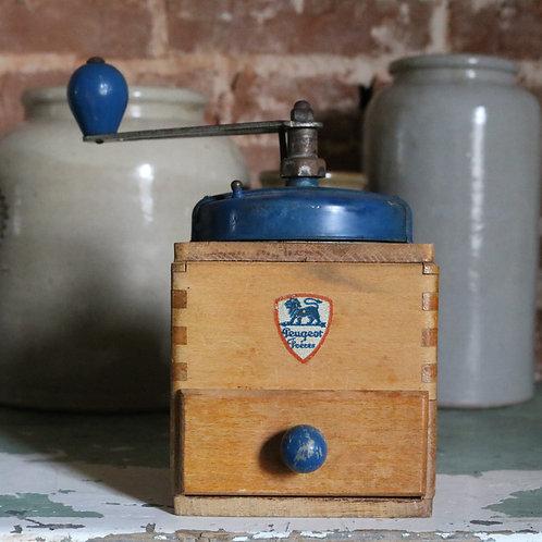 Vintage Peugeot Coffee Grinder Mill Blue
