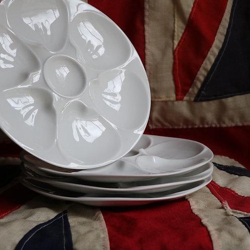 White Porcelain  Oyster Plates Set of 4