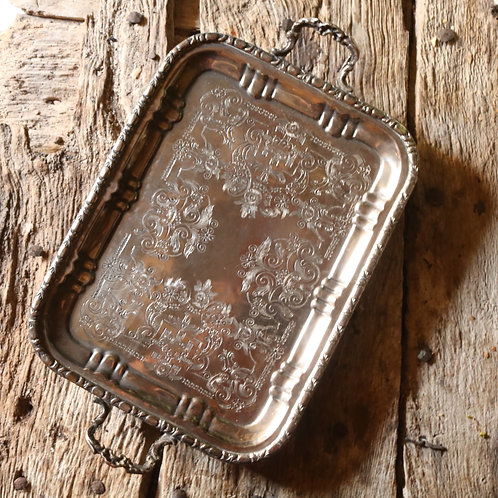 Vintage Silver Platted Footed Tray