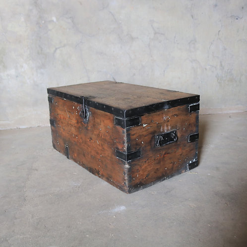 Antique Industrial Pine Iron Trunk Chest