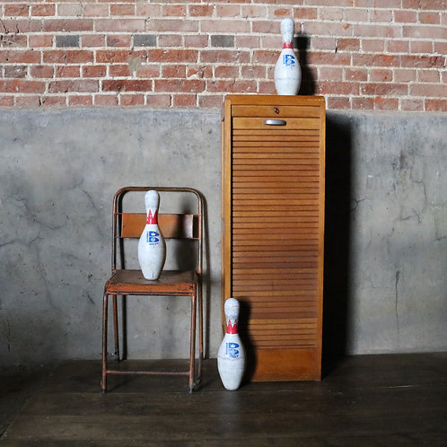 Mid Century Tambour Small Filing Cabinet