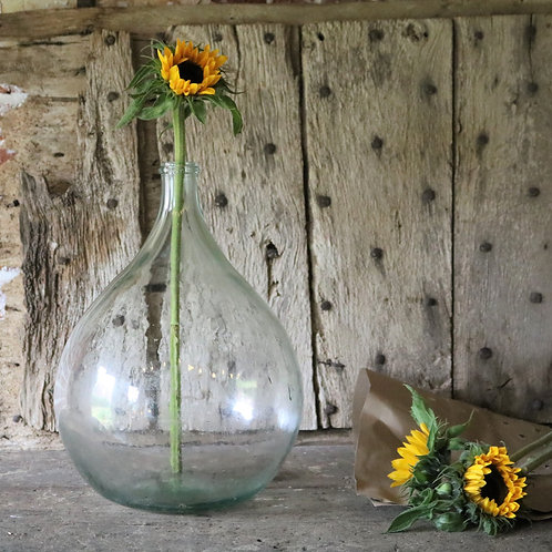 Large French Vintage Glass Carboy Bottle Clear