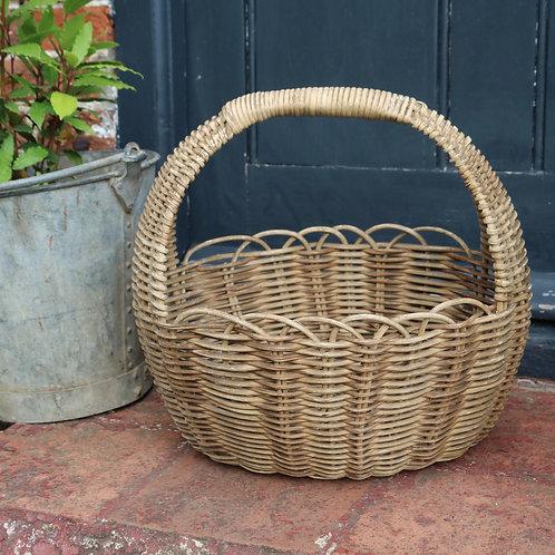 Pretty Vintage Pale Oval Wicker Basket