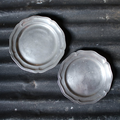 Pair of French Vintage Pewter Plates Chargers