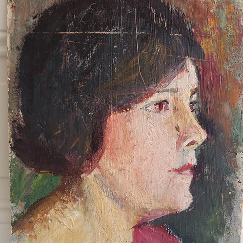 Original Painting Portrait of A Lady in Red