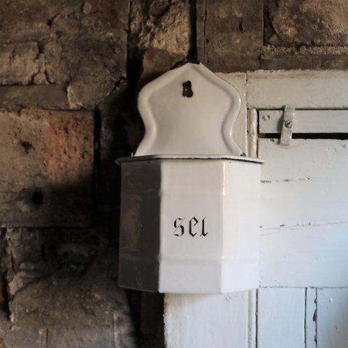 French Vintage Enamel Salt Box Pot Boîte à Sel