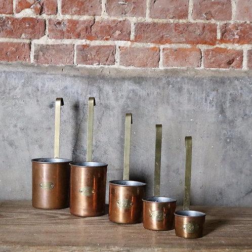 Vintage Copper Measuring Ladles