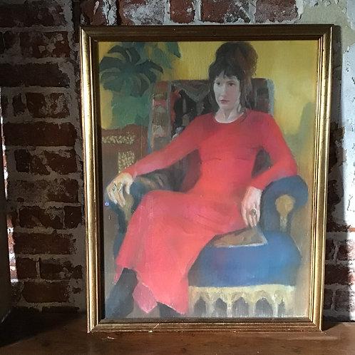 Original Vintage Art Lady in Red