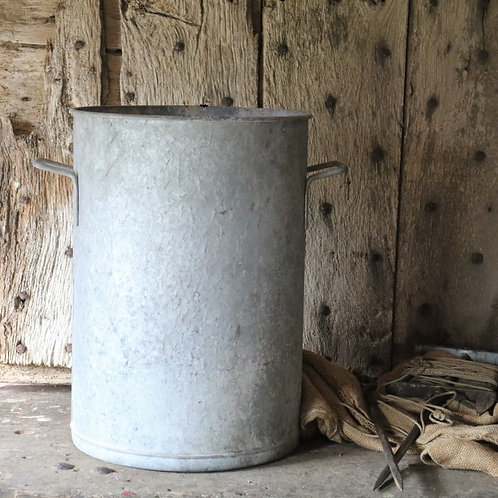 Tall Large Vintage Galvanised Bucket Planter