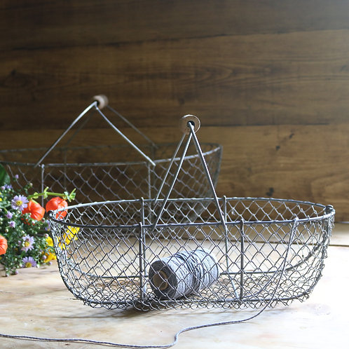 Small French Vintage Wire Basket