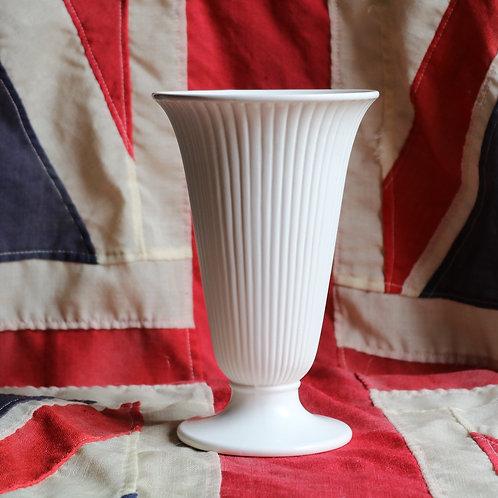 """Wedgwood White Vase Moonstone Fluted Trumpet 8"""""""