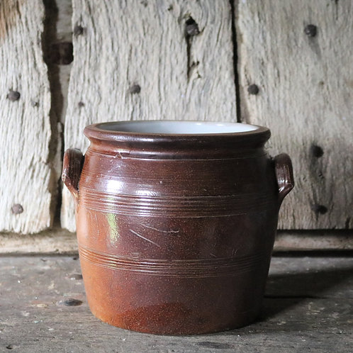 Large French Vintage  Stoneware Confit Pot