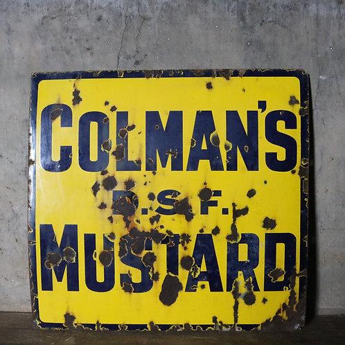 Original Enamel Coleman's Mustard Advertising Sign
