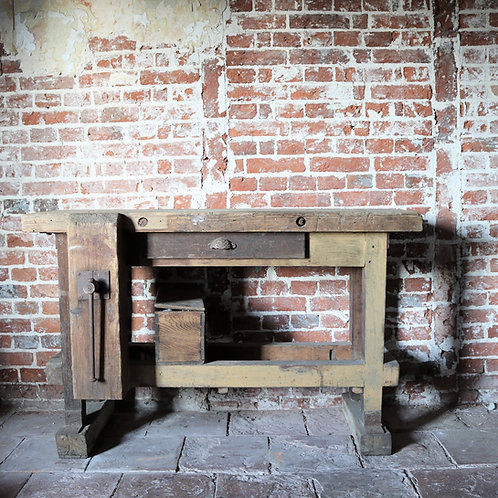 Small Old Vintage Rustic Workbench