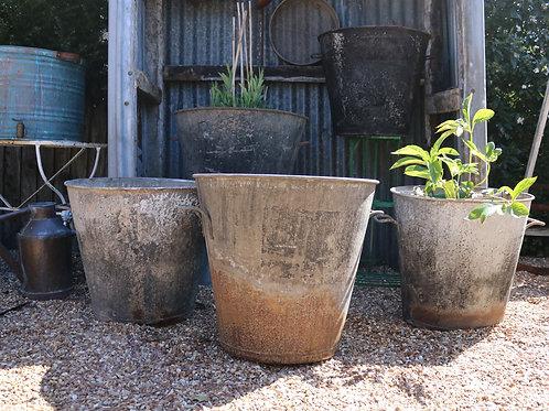 Extra Large Vintage Glavanised Pot Planters