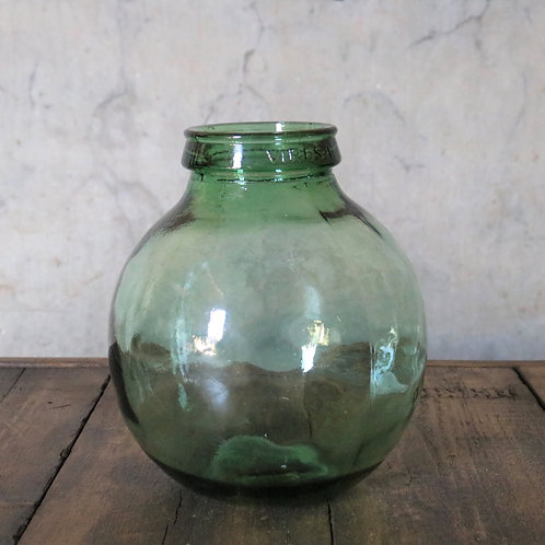 Small Round Green Glass Carboy Bottle Vase