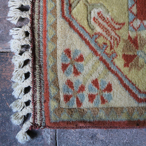 Handwoven Vintage Wool Rug Terracotta and Blue