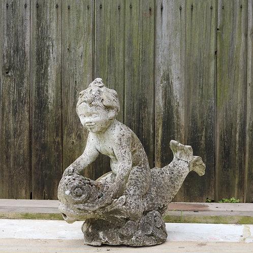 Antique Composite Fountain Boy Riding Dolphin