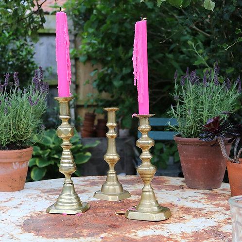 Three Vintage Mismatch  Brass Candlesticks Candle Holders