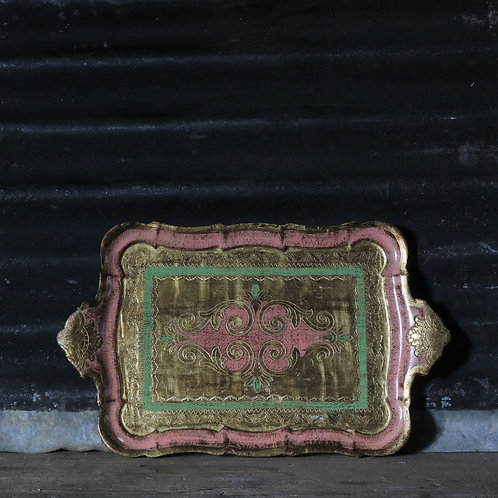 Vintage Green, Pink and Gold Florentine Tray