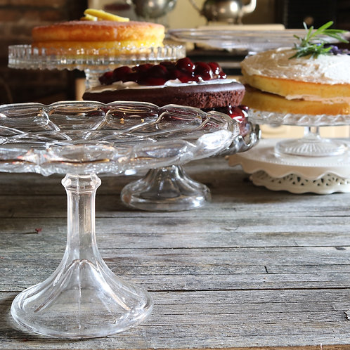 Tall Vintage Pressed Glass Cake Stand