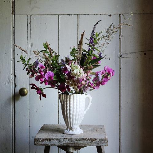 White Sea Shell Jug Vase
