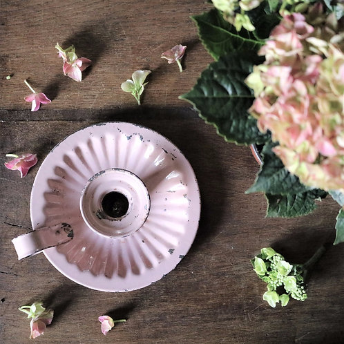 Pink Enamel Wee Willy Winkie Candle Holder