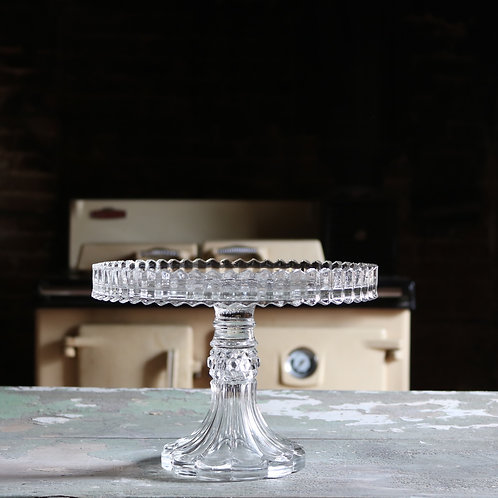 Spectacular Vintage Pressed Glass Cake Stand