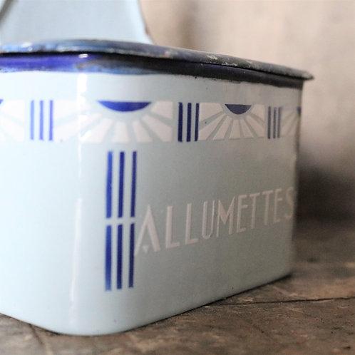 French Enamel Allumettes Match Holder Tin