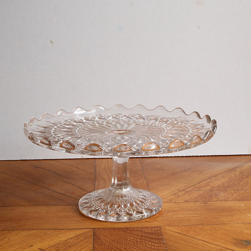 Vintage Pressed Glass Cake Stand - Medium G