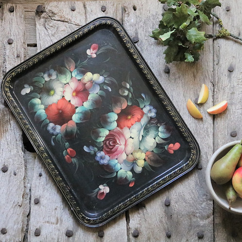 Hand-painted French Vintage Tray