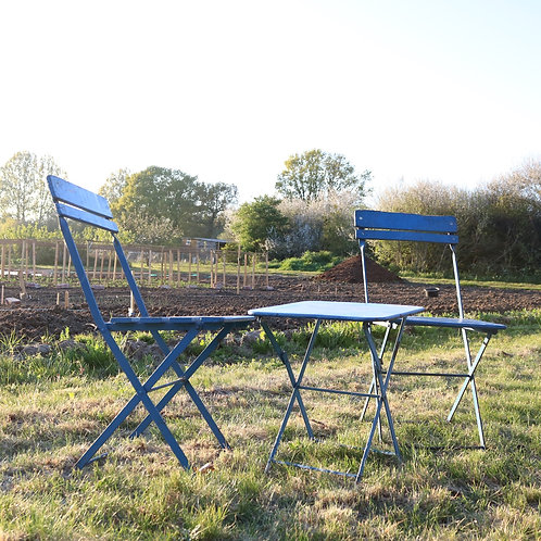 Garden furniture French Vintage Folding Cafe Chair Pair Blue