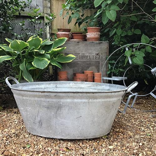 Large Galvanised Zinc Planters Bath