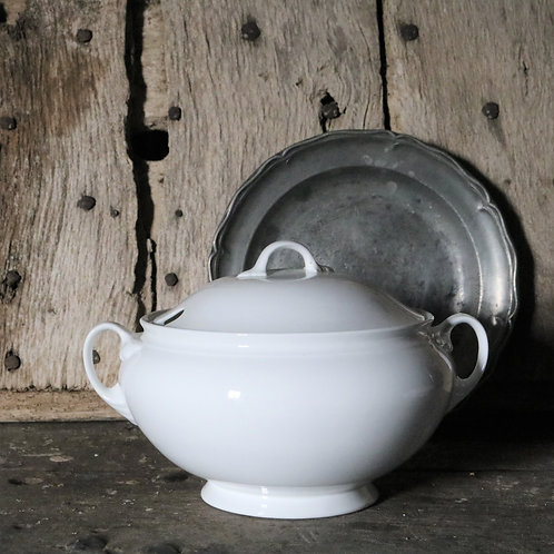 Large French Vintage White Porcelain Tureen