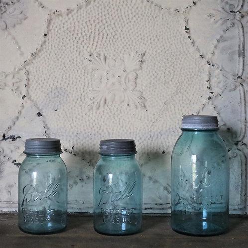 Original Half Gallon Vintage Aqua Blue Mason's Ball Jar