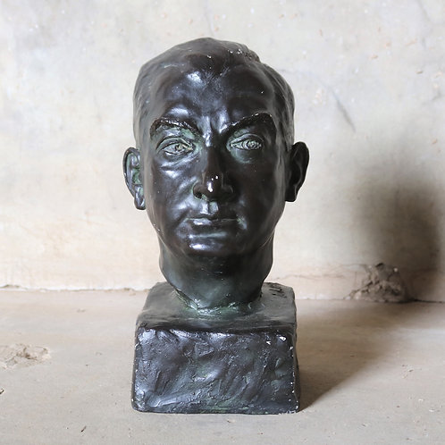 Original Vintage Plaster Bust of Unknown Man with Bronzed Finish