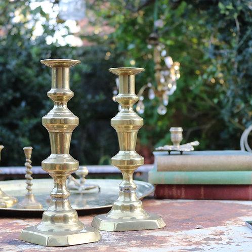 Vintage Brass Candlesticks Large